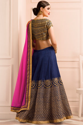 Indi Fashion Blue Gold and Pink Bangalori Silk Wedding Lehenga Set