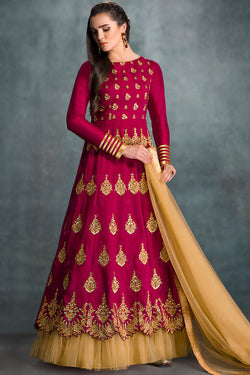 Indi Fashion Red and Gold Banglori Silk Wedding Lehenga