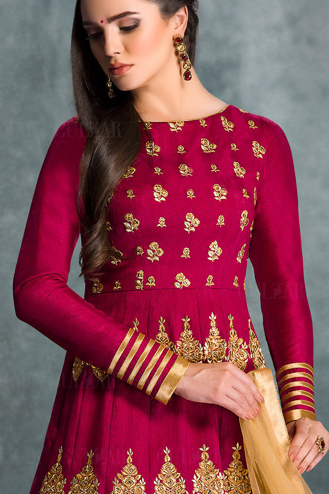 Red and Gold Banglori Silk Wedding Lehenga