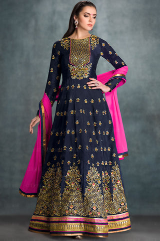 Indi Fashion Blue and Gold Georgette Wedding Lehenga
