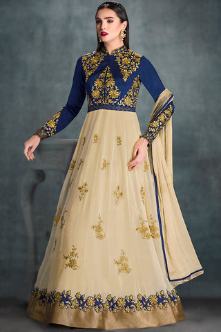 Indi Fashion Blue and Cream Georgette Wedding Lehenga
