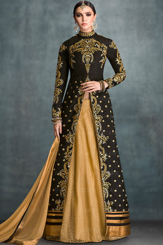 Indi Fashion Black and Gold Banglori Silk Jacket Style Wedding Lehenga