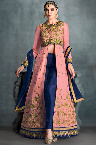 Indi Fashion Peach and Blue Banglori Silk Gown Style Wedding Lehenga