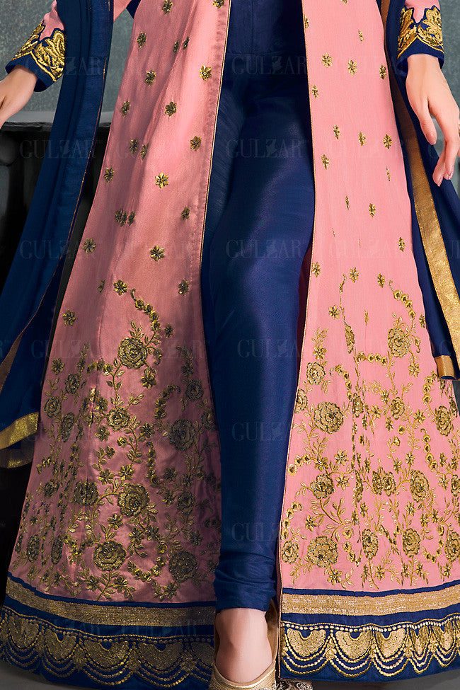 Peach and Blue Banglori Silk Gown Style Wedding Lehenga