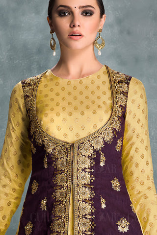 Indi Fashion Mustard and Purple Banglori Silk Jacket Style Wedding Lehenga