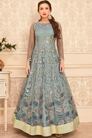 Buy Gray Net Party Wear Floor Length Suit Online at indi.fashion