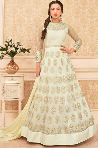 Indi Fashion Cream Net Party Wear Floor Length Suit