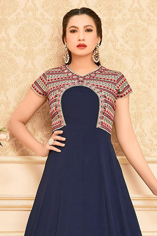Indi Fashion Blue and Red Semi Georgette Party Wear Floor Length Suit