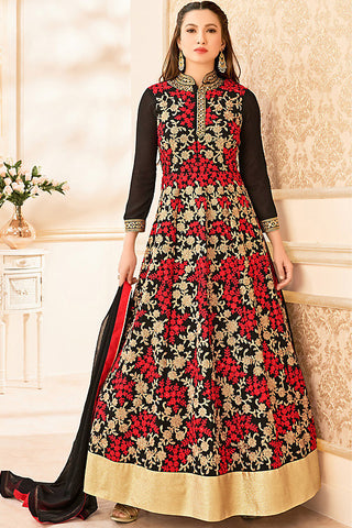 Indi Fashion Black Red and Beige Semi Georgette Party Wear Floor Length Suit