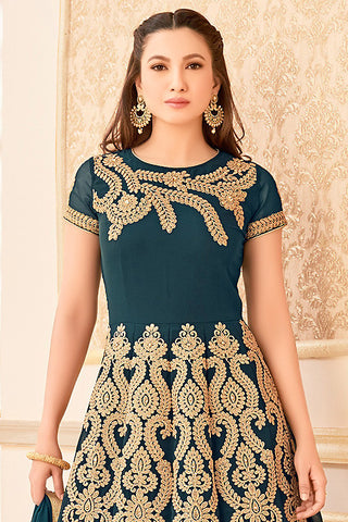 Indi Fashion Green and Gold Semi Georgette Party Wear Floor Length Suit