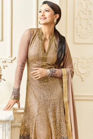 Indi Fashion Peach Gold and Gray Heavy Dull Party Wear Suit