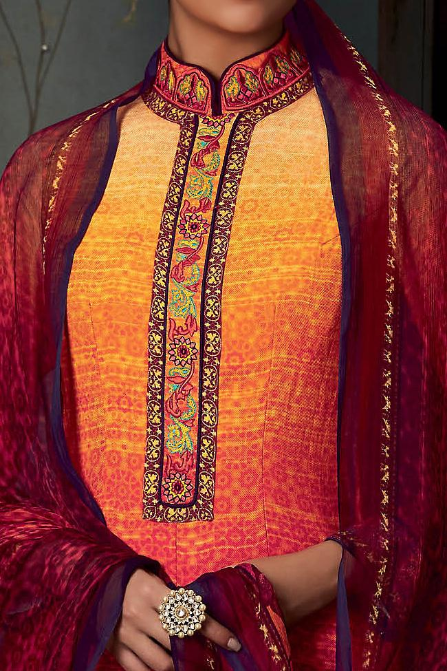 Indi Fashion Pure Pashmina Yellow and Red Ombre Straight Suit
