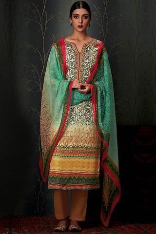 Indi Fashion Pure Pashmina Sea Green and Mustard Ombre Straight Suit
