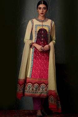 Indi Fashion Pure Pashmina Cream and Red Ombre Straight Suit