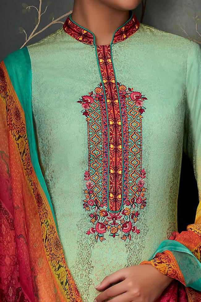 Indi Fashion Pure Pashmina Sky Blue Yellow and Red Ombre Straight Suit