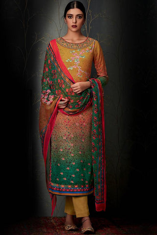 Indi Fashion Pure Pashmina Mustard and Green Ombre Straight Suit