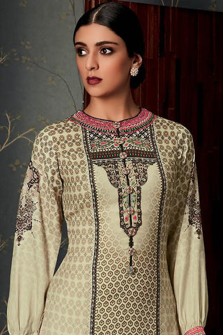Indi Fashion Pure Pashmina Cream and Brown Straight Suit