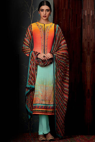 Indi Fashion Pure Pashmina Yellow Peach and Sky Blue Ombre Straight Suit