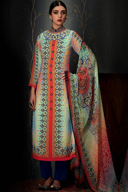 Indi Fashion Pure Pashmina Sky Blue and Orange Ombre Straight Suit