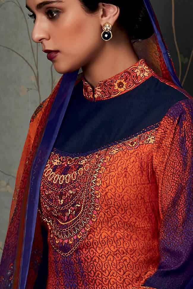 Indi Fashion Pure Pashmina Orange and Blue Half and Half Straight Suit