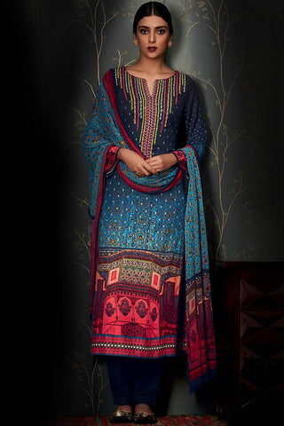 Indi Fashion Pure Pashmina Navy and Light Blue Ombre Straight Suit