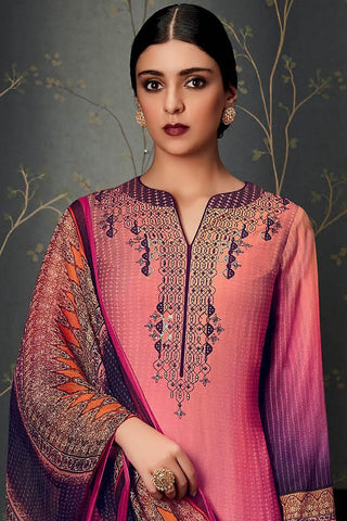 Indi Fashion Pure Pashmina Pink and Purple Ombre Straight Suit