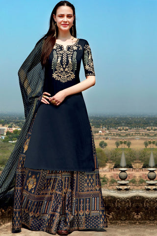 Indi Fashion Denim Blue Cotton Satin Suit with Printed Dupatta