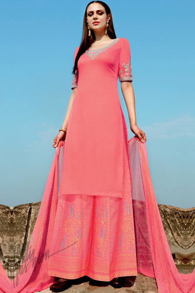 Indi Fashion Pink Cotton Satin Suit with Printed Dupatta
