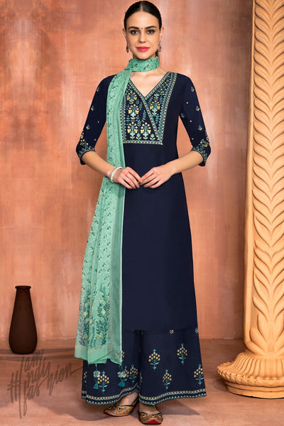 Indi Fashion Navy Blue and Sea Green Muslin Silk Palazzo Suit