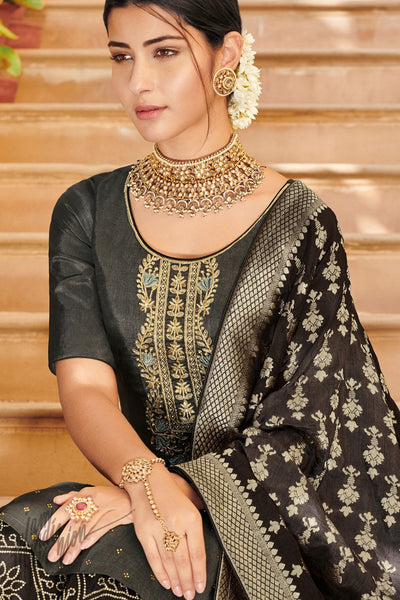 Gray and Black Dola Silk Palazzo Suit with Banarasi Silk Dupatta