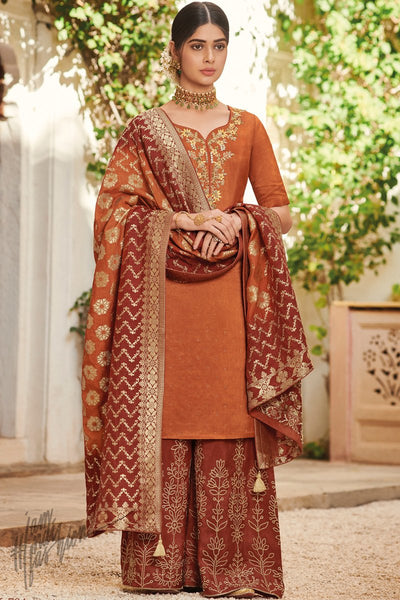 Rust Dola Silk Palazzo Suit with Banarasi Silk Dupatta