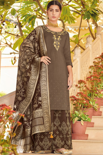 Brown Dola Silk Palazzo Suit with Banarasi Silk Dupatta