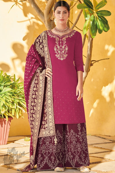 Magenta and Wine Dola Silk Palazzo Suit with Banarasi Silk Dupatta