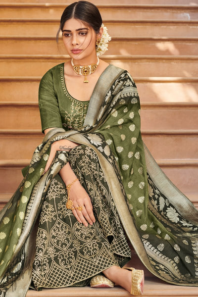 Mehandi Green Dola Silk Palazzo Suit with Banarasi Silk Dupatta