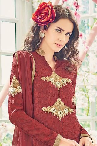 Indi Fashion Maroon and Gold Chiffon Straight Suit