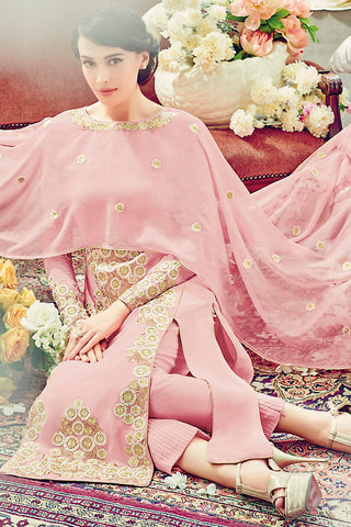 Indi Fashion Soft Pink and Gold Georgette Straight Suit