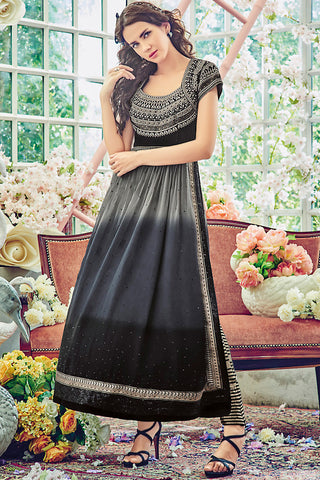 Indi Fashion Black and Gray Georgette Straight Suit