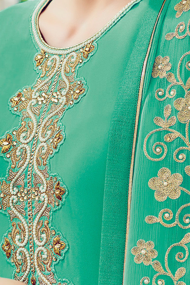 Indi Fashion Sea Green and Gold Georgette Straight Suit