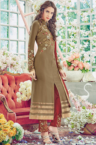 Indi Fashion Chiku Brown and Red Georgette Straight Suit