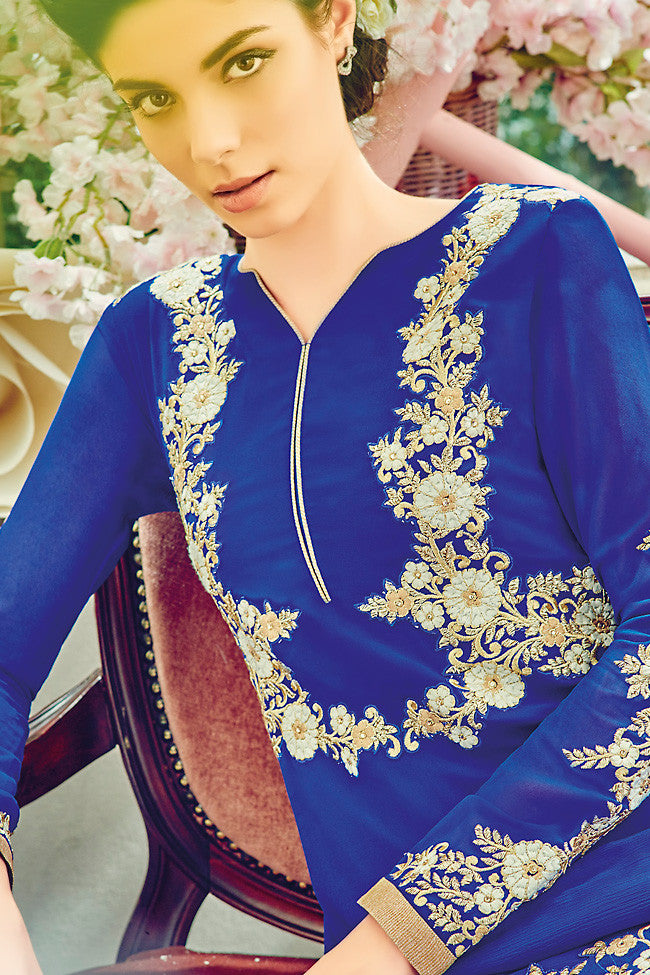 Indi Fashion Blue and Silver Georgette Straight Suit