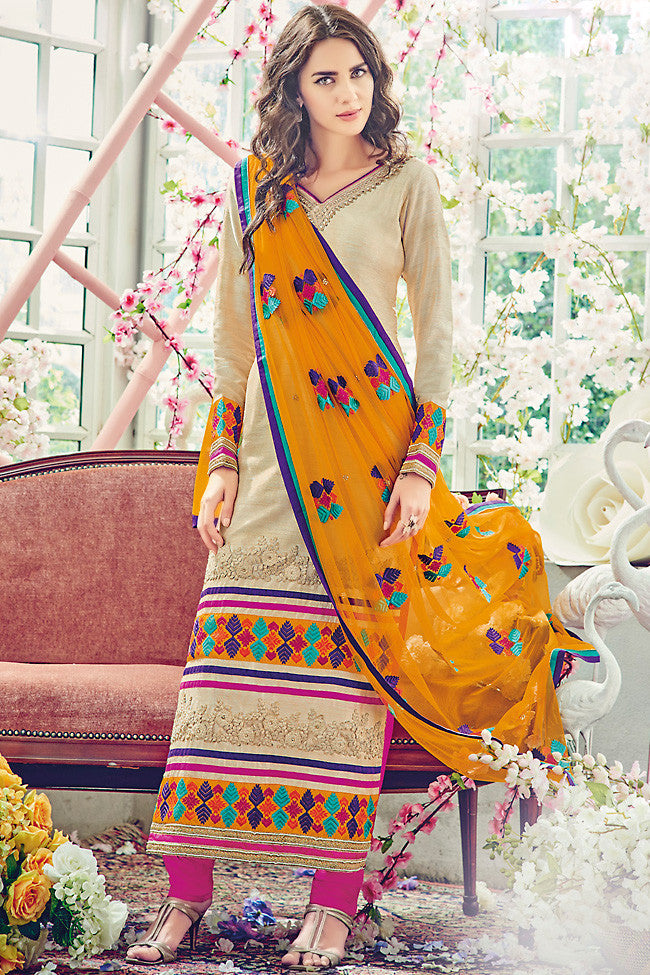 Indi Fashion Cream and Mustard Bhagalpuri Straight Suit