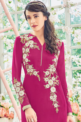 Indi Fashion Pink and Silver Georgette Straight Suit