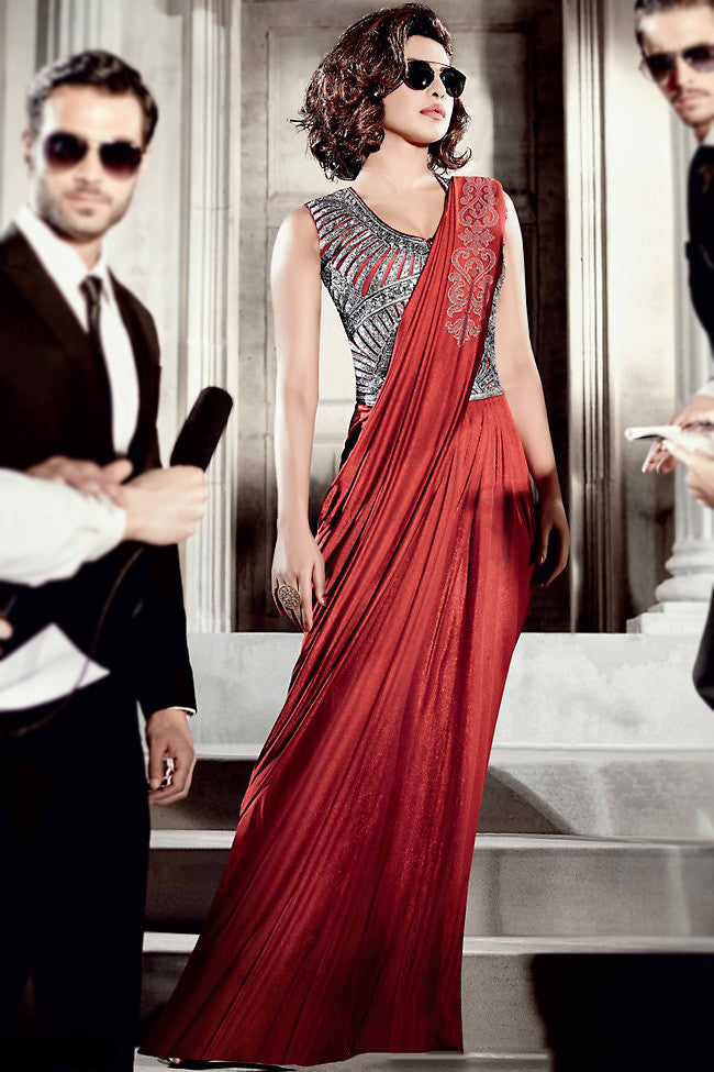 Buy Red and Silver Lycra Saree Style Gown Online at indi.fashion