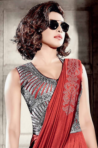 Indi Fashion Red and Silver Lycra Saree Style Gown
