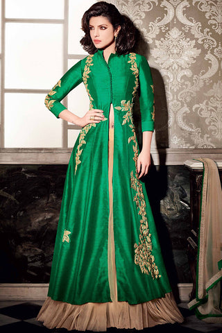 Indi Fashion Green and Peach Art Silk Lehenga Style Suit