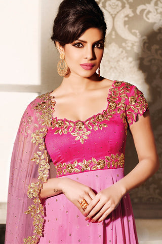 Indi Fashion Pink and Rani Georgette Anarkali Style Party Wear Suit
