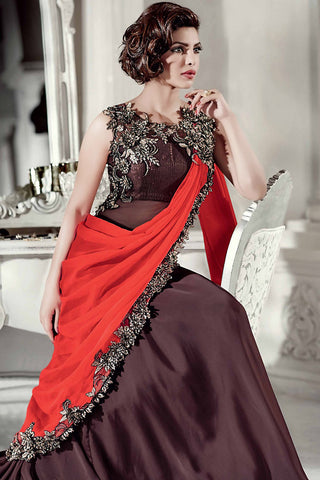 Indi Fashion Maroon and Red Satin Georgette Saree Style Gown