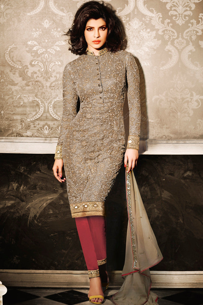 Buy Beige Net Straight Party Wear Suit Online at indi.fashion