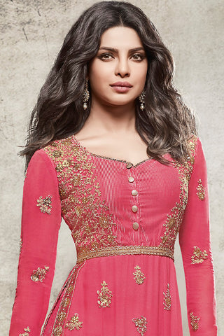 Indi Fashion Pink and Gold Georgette Straight Party Wear Suit