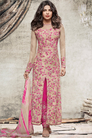 Indi Fashion Beige and Pink Georgette Straight Party Wear Suit